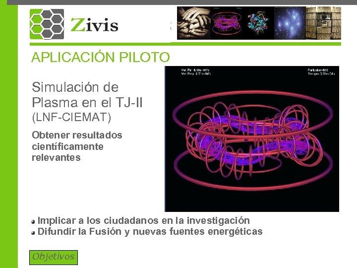 APLICACIÓN PILOTO Simulación de Plasma en el TJ-II (LNF-CIEMAT) Obtener resultados científicamente relevantes Implicar