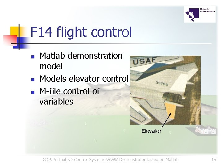F 14 flight control n n n Matlab demonstration model Models elevator control M-file