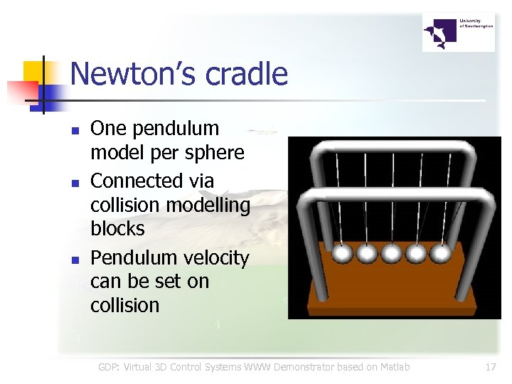 Newton's cradle n n n One pendulum model per sphere Connected via collision modelling