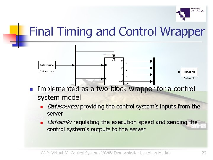 Final Timing and Control Wrapper n Implemented as a two-block wrapper for a control