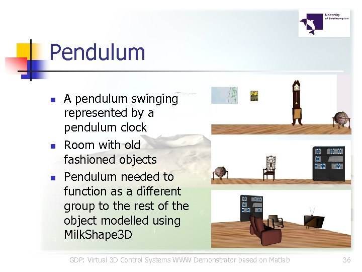 Pendulum n n n A pendulum swinging represented by a pendulum clock Room with