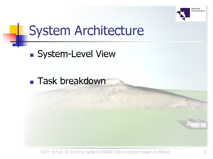 System Architecture n System-Level View n Task breakdown GDP: Virtual 3 D Control Systems