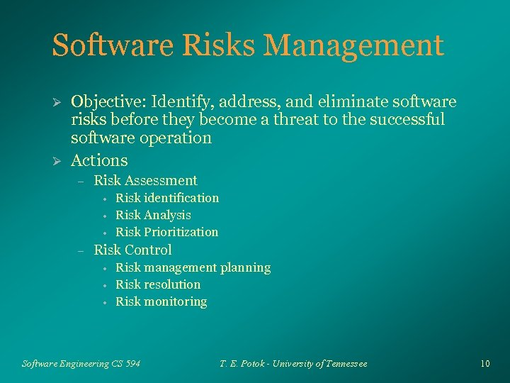 Software Risks Management Ø Ø Objective: Identify, address, and eliminate software risks before they