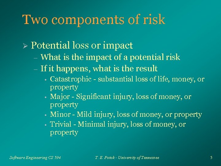 Two components of risk Ø Potential loss or impact – – What is the