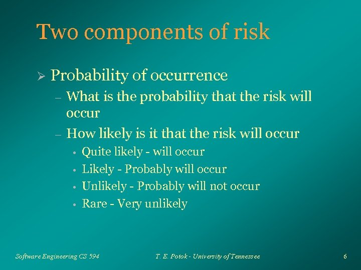 Two components of risk Ø Probability of occurrence – – What is the probability