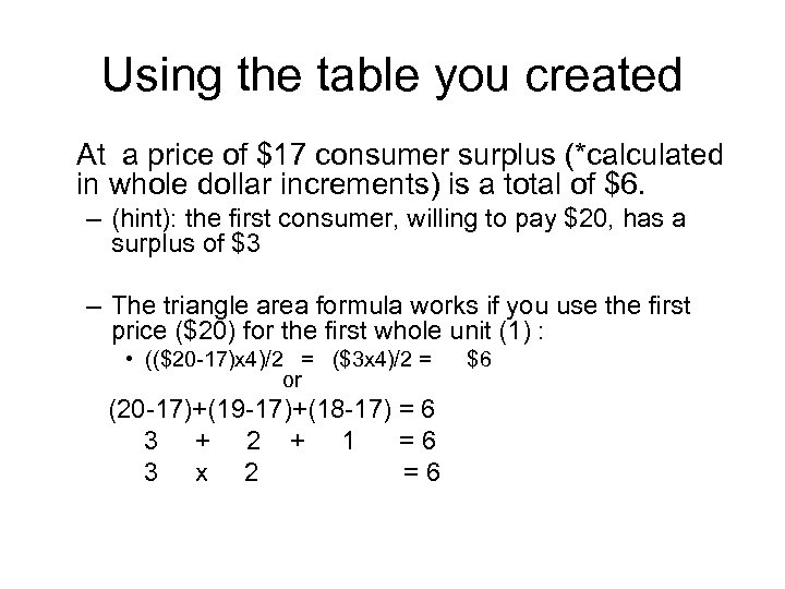 Using the table you created At a price of $17 consumer surplus (*calculated in