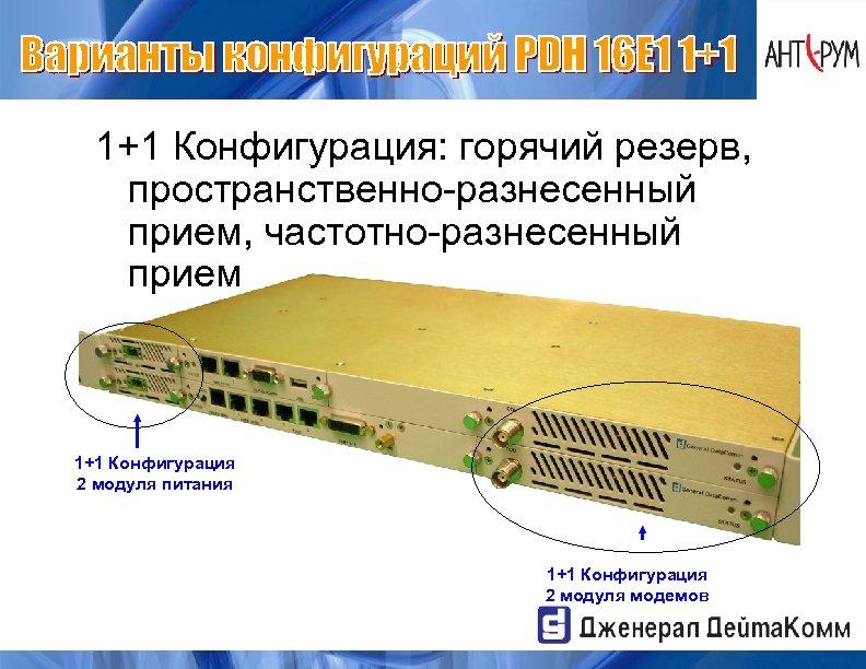 1+1 Конфигурация: горячий резерв, пространственно-разнесенный прием, частотно-разнесенный прием 1+1 Конфигурация 2 модуля питания 1+1