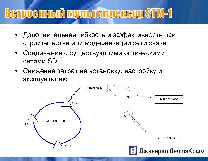 • Дополнительная гибкость и эффективность при строительстве или модернизации сети связи • Соединение