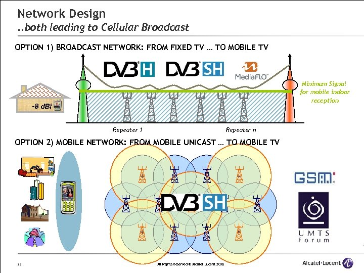 Network Design. . both leading to Cellular Broadcast OPTION 1) BROADCAST NETWORK: FROM FIXED
