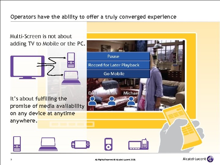 Operators have the ability to offer a truly converged experience Multi-Screen is not about