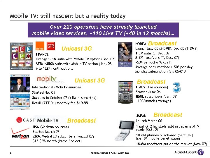 Mobile TV: still nascent but a reality today Over 220 operators have already launched