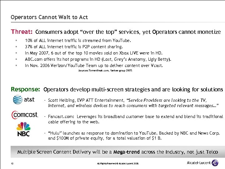 """Operators Cannot Wait to Act Threat: Consumers adopt """"over the top"""" services, yet Operators"""