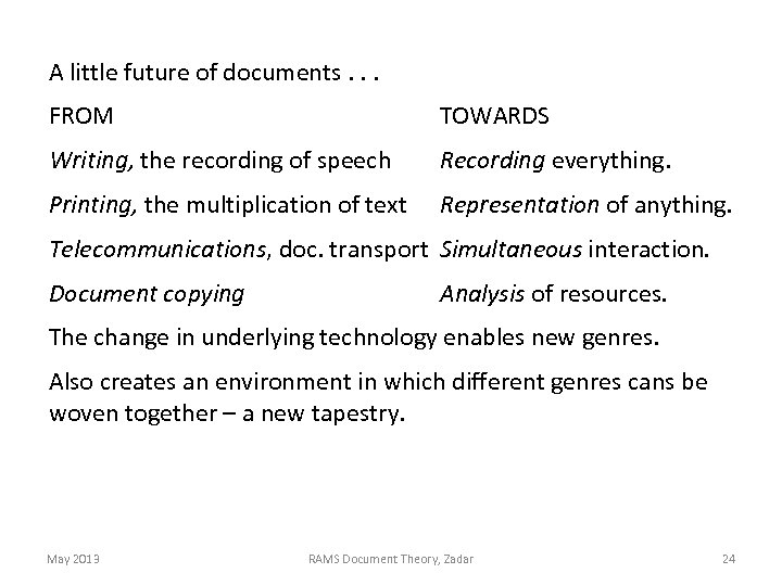 A little future of documents. . . FROM TOWARDS Writing, the recording of speech