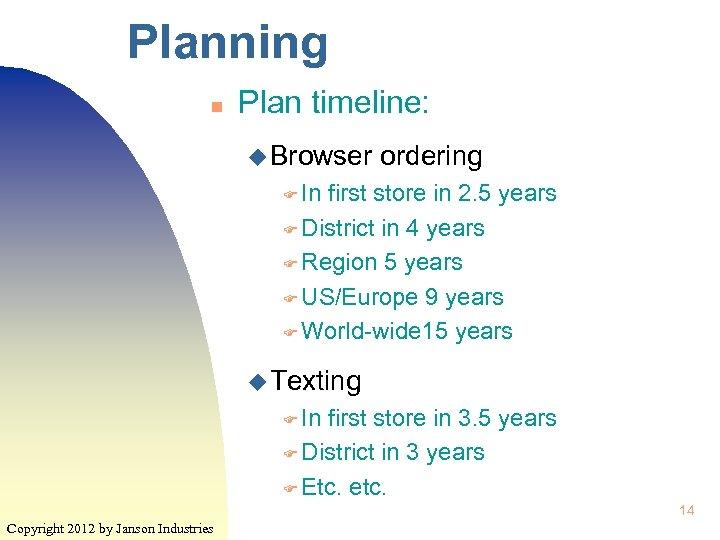 Planning n Plan timeline: u Browser ordering F In first store in 2. 5