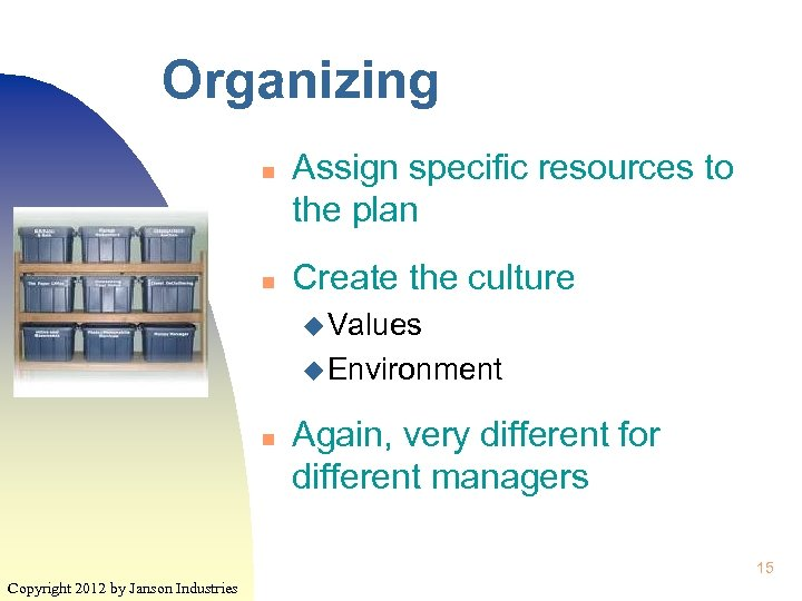 Organizing n n Assign specific resources to the plan Create the culture u Values