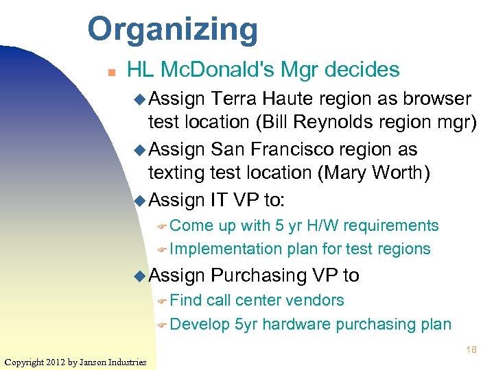 Organizing n HL Mc. Donald's Mgr decides u Assign Terra Haute region as browser