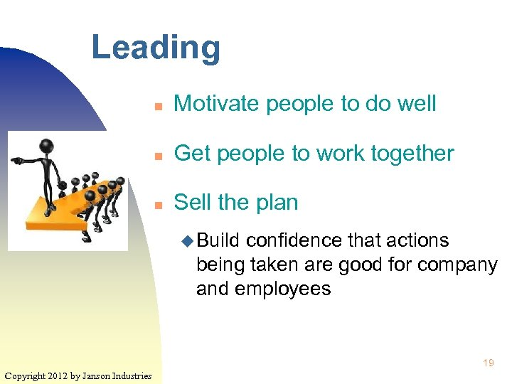 Leading n Motivate people to do well n Get people to work together n
