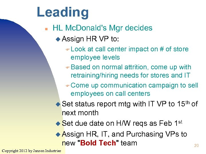 Leading n HL Mc. Donald's Mgr decides u Assign HR VP to: F Look