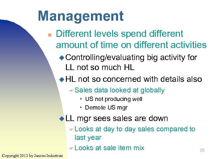 Management n Different levels spend different amount of time on different activities u Controlling/evaluating