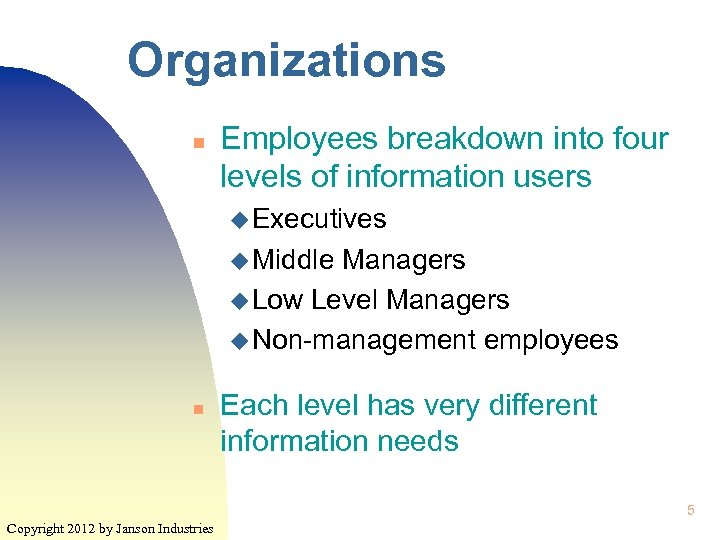 Organizations n Employees breakdown into four levels of information users u Executives u Middle