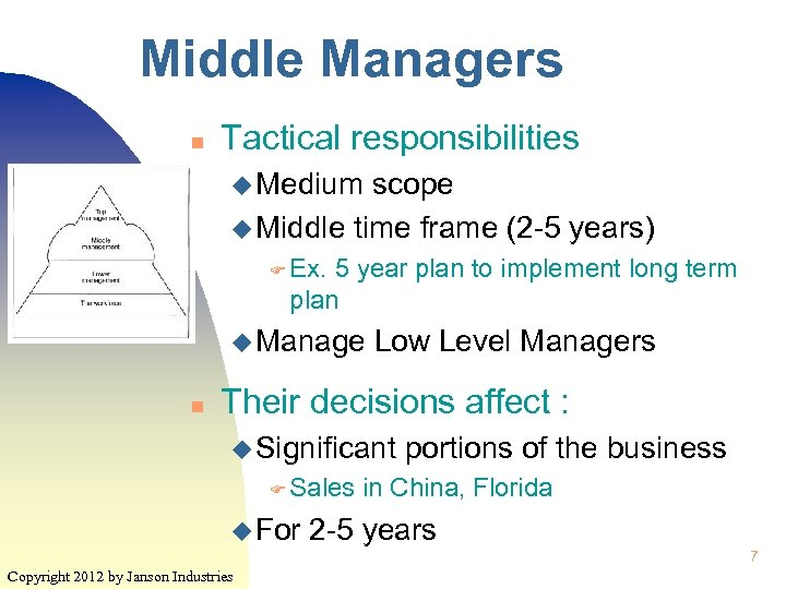 Middle Managers n Tactical responsibilities u Medium scope u Middle time frame (2 -5