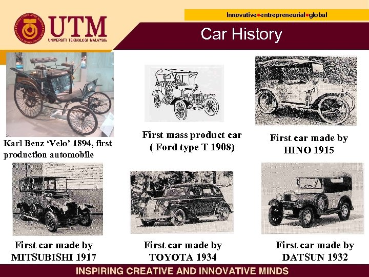 Innovative●entrepreneurial●global Innovative● entrepreneurial● Car History Karl Benz 'Velo' 1894, first production automobile First car
