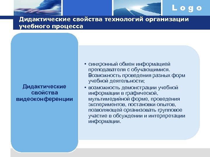 Logo Дидактические свойства технологий организации учебного процесса Дидактические свойства видеоконференции • синхронный обмен информацией