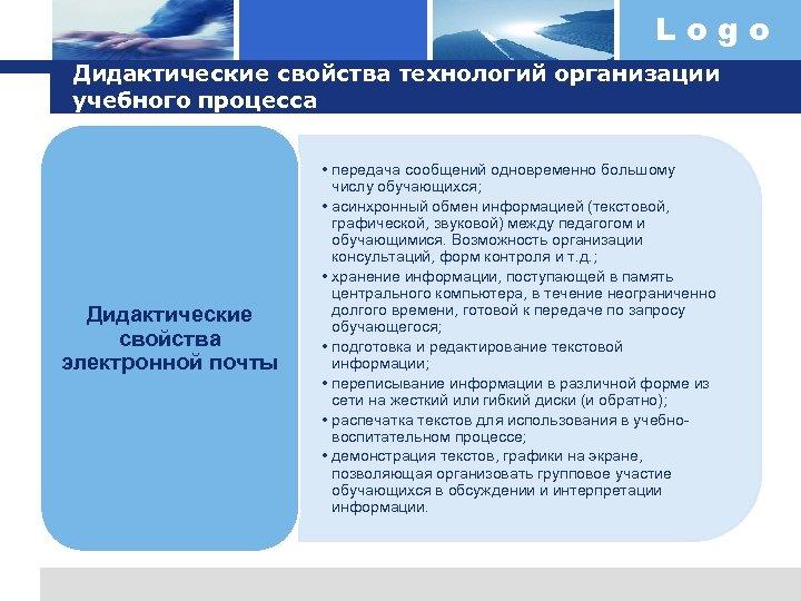 Logo Дидактические свойства технологий организации учебного процесса Дидактические свойства электронной почты • передача сообщений