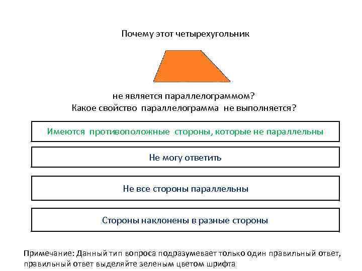 Почему этот четырехугольник не является параллелограммом? Какое свойство параллелограмма не выполняется? Имеются противоположные стороны,