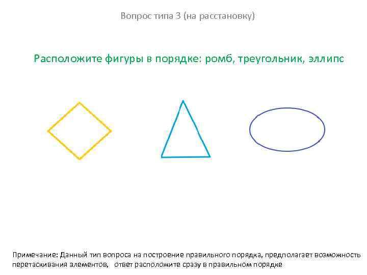 Вопрос типа 3 (на расстановку) Расположите фигуры в порядке: ромб, треугольник, эллипс Примечание: Данный