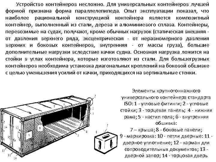 Устройство контейнеров несложно. Для универсальных контейнеров лучшей формой признана форма параллелепипеда. Опыт эксплуатации показал,
