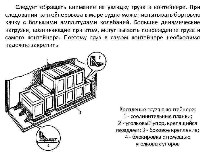 Следует обращать внимание на укладку груза в контейнере. При следовании контейнеровоза в море судно