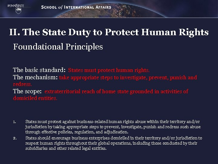 II. The State Duty to Protect Human Rights Foundational Principles The basic standard: States