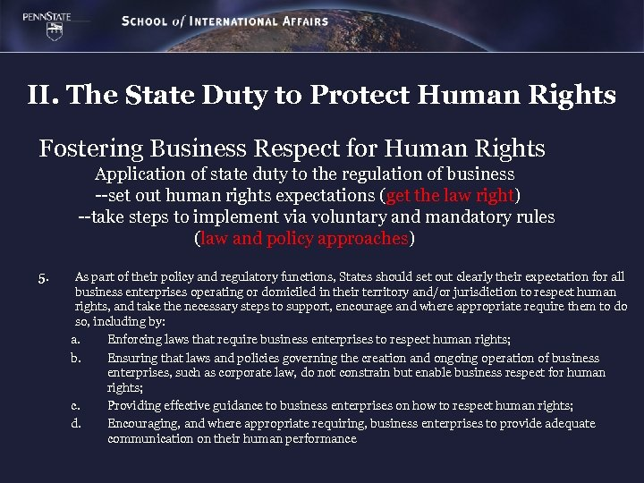 II. The State Duty to Protect Human Rights Fostering Business Respect for Human Rights