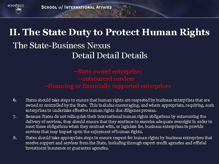 II. The State Duty to Protect Human Rights The State-Business Nexus Details --State owned