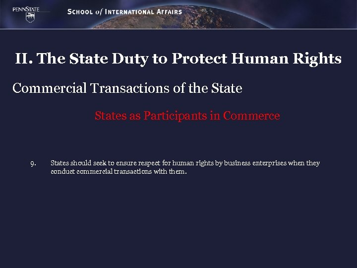 II. The State Duty to Protect Human Rights Commercial Transactions of the States as