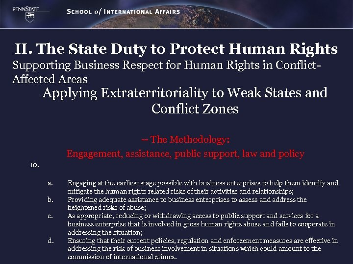 II. The State Duty to Protect Human Rights Supporting Business Respect for Human Rights