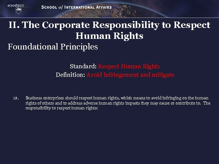 II. The Corporate Responsibility to Respect Human Rights Foundational Principles Standard: Respect Human Rights