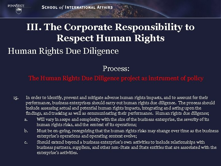 III. The Corporate Responsibility to Respect Human Rights Due Diligence Process: The Human Rights