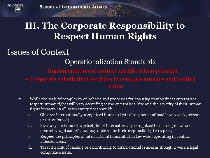 III. The Corporate Responsibility to Respect Human Rights Issues of Context Operationalization Standards --
