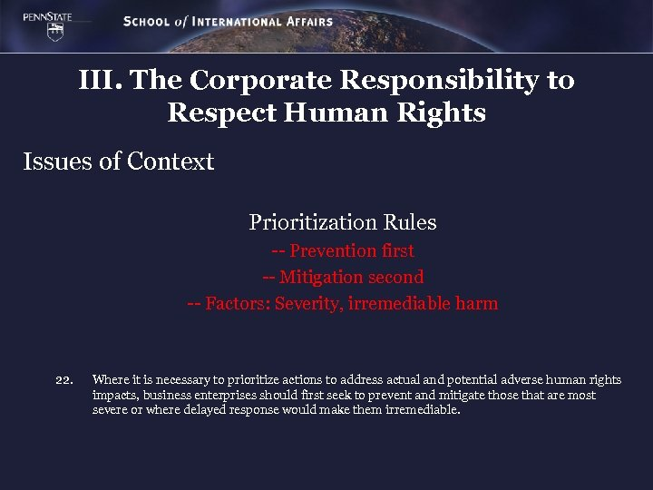 III. The Corporate Responsibility to Respect Human Rights Issues of Context Prioritization Rules --