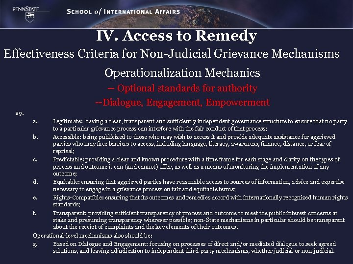 IV. Access to Remedy Effectiveness Criteria for Non-Judicial Grievance Mechanisms Operationalization Mechanics -- Optional