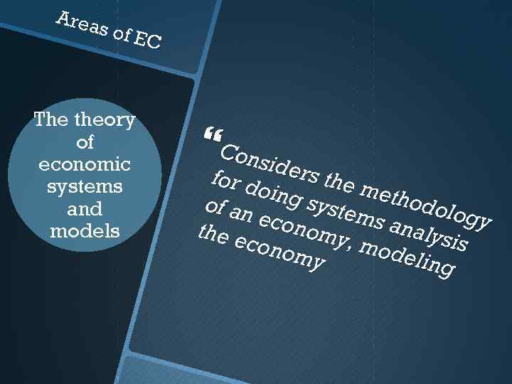 Area s of E C The theory of economic systems and models Cons i