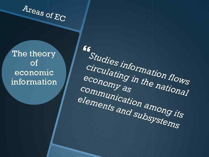 Area s of E C The theory of economic information Studi e s info