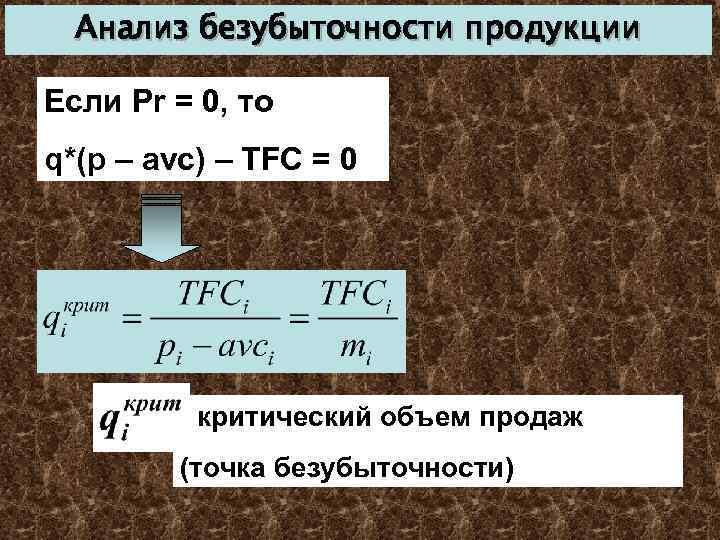 Анализ безубыточности продукции Если Pr = 0, то q*(p – avc) – TFC =
