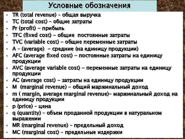 • • • • Условные обозначения TR (total revenue) – общая выручка TC