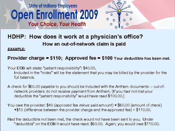 HDHP: How does it work at a physician's office? How an out-of-network claim is
