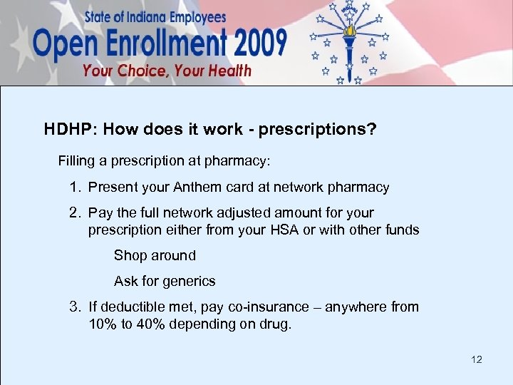 HDHP: How does it work - prescriptions? Filling a prescription at pharmacy: 1. Present