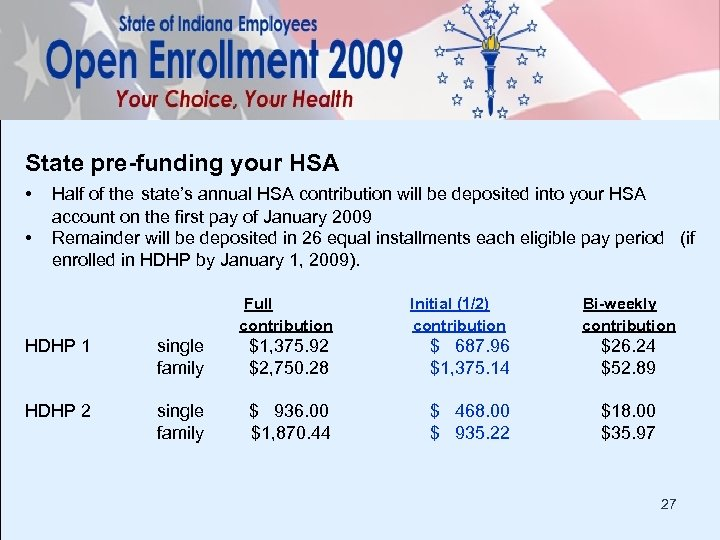 State pre-funding your HSA • • Half of the state's annual HSA contribution will