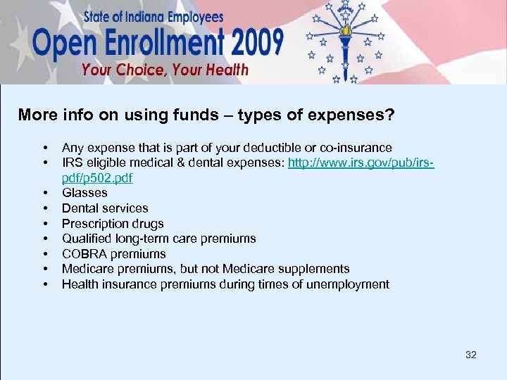 More info on using funds – types of expenses? • • • Any expense